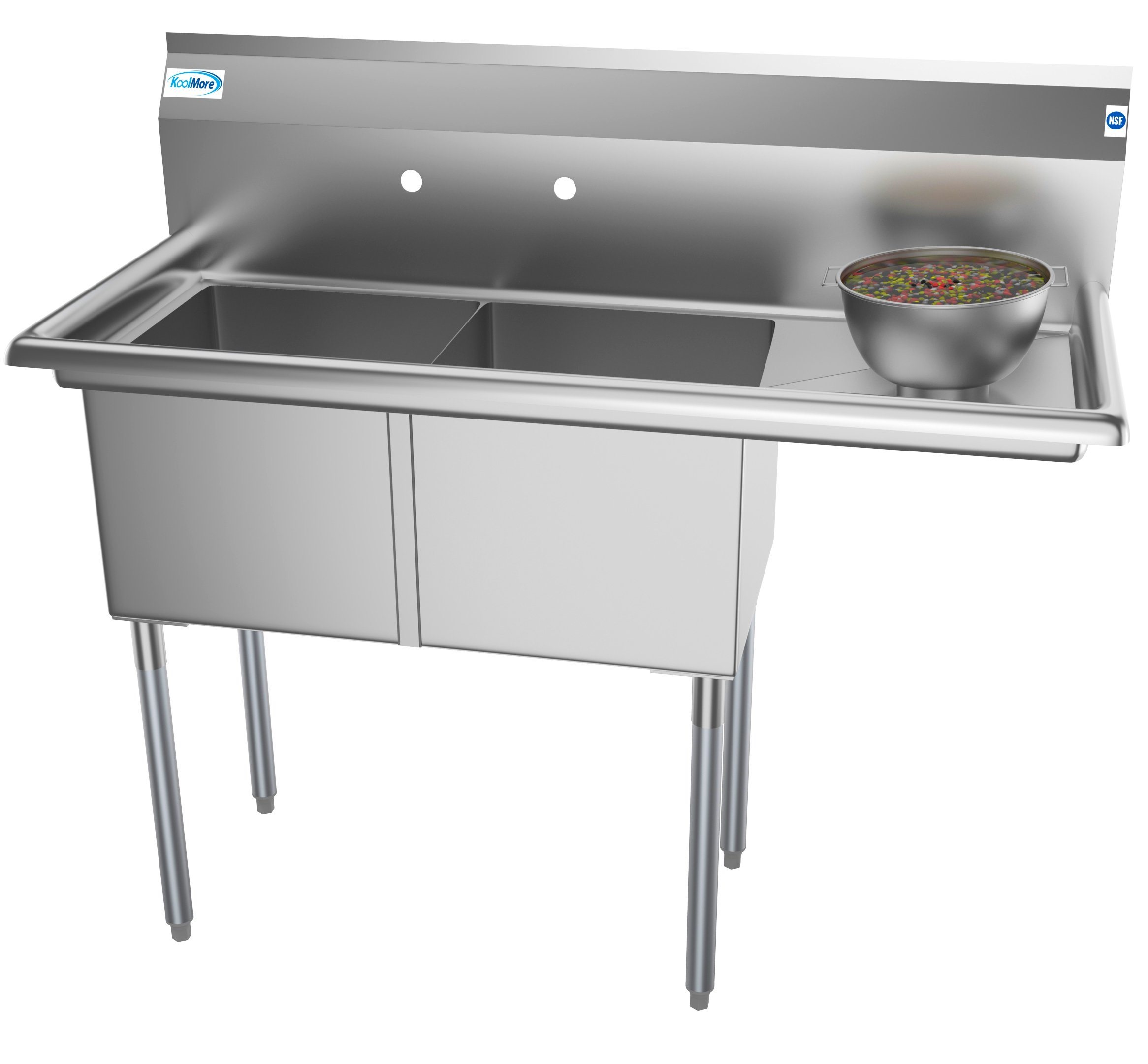 """2 Compartment 48"""" Stainless Steel Commercial Kitchen Prep & Utility Sink with Drainboard - Bowl Size 15"""" x 15"""" x 12"""""""