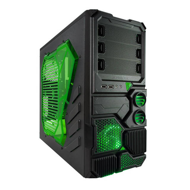 Apevia X-SNIPER2-GN X-sniper 2 No Power Supply Atx Mid Tower [black/green]