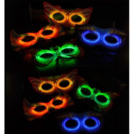 12 Pack of Glow In The Dark Multi-Colored Victorian Era Mask Toy,Great For Party Favors and A Night Out! Colors May Vary