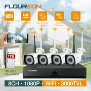 FLOUREON 8CH 1080P Wireless CCTV Home Security Camera System 1TB Hard Drive Pre-installed Auto Cascading NVR Recorder Kit 4x1080p Indoor/Outdoor IP Cameras Night Vision Motion Detection Remote Viewing