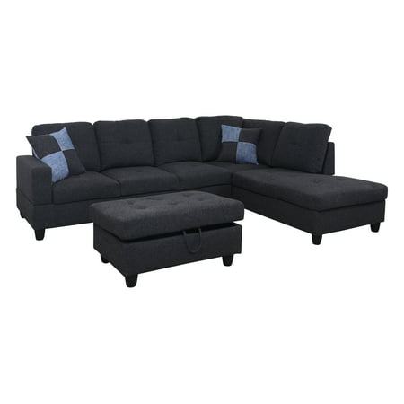 AYCP Furniture 3-PC L-Shape Sectional Sofa Set, Right Hand Facing Chaise, LINEN Upholstery Material, Dark Grey/Gray Color, More Colors & Styles Available ()
