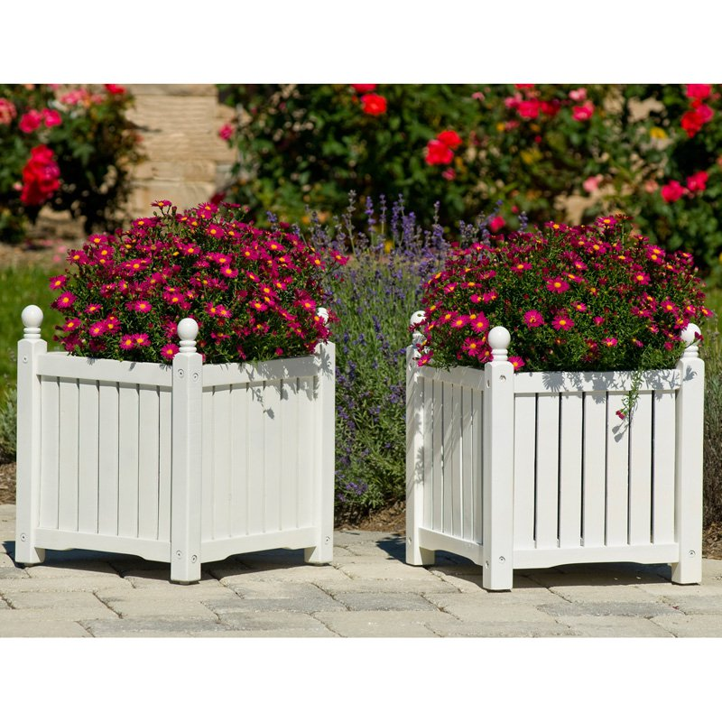 Square Solid Wood Lexington Planter Box - Set of 2