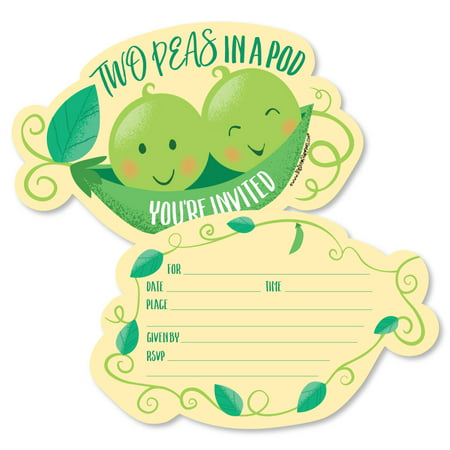 Double the Fun - Twins Two Peas in a Pod - Shaped Fill-In Invitations -Baby Shower or First Birthday Party Invites-12 Ct