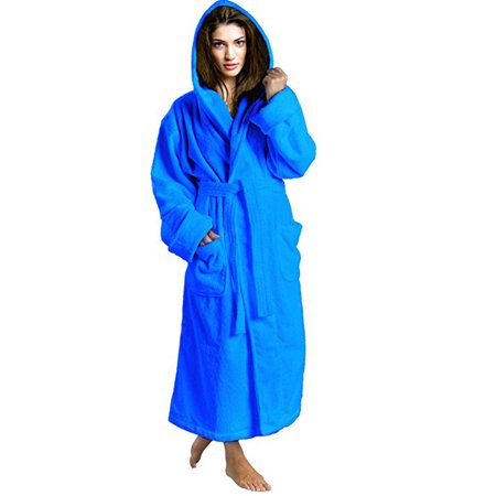 (Women's Toweling Robe 100% Terry Cotton Hooded Bathrobe)