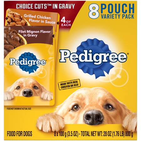 (2 Pack) PEDIGREE CHOICE CUTS in Gravy Grilled Chicken Flavor in Sauce & Filet Mignon Flavor in Gravy Adult Wet Dog Food Variety Pack, (8) 3.5 oz. Pouches