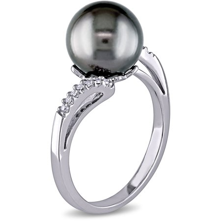 9-9.5mm Black Tahitian Pearl and Diamond-Accent 10kt White Gold Bypass