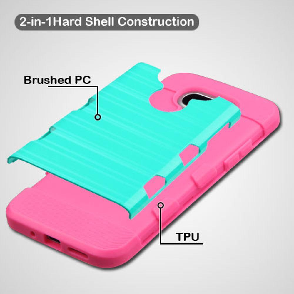 Insten TUFF Trooper Brushed Hybrid Soft Hard TPU Case For LG G5 - Teal/Hot Pink - image 1 of 3