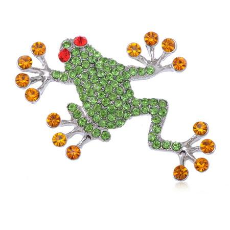 - Genuine Peridot Crystal Rhinestone Ruby Eyed Frog Fashion Jewelry Brooch Pin
