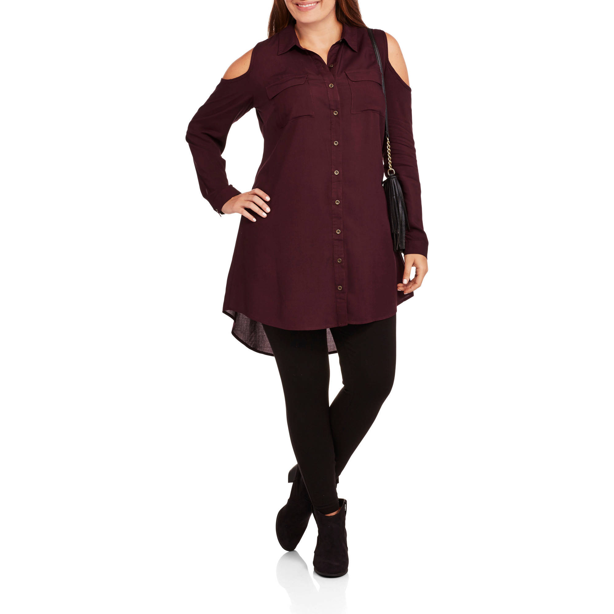 Extra Touch Women's Plus Cold Shoulder Shirt Dress