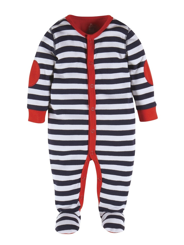 Petit Lem Footed Pajamas Striped: Fire Truck Navy/White