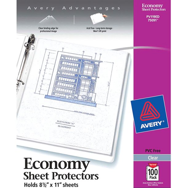 "Avery Economy Clear Sheet Protectors 75091, Acid Free, Box of 100 - 1 x Sheet Capacity - For Letter 8.50"" x 11"" Sheet -"