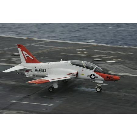 Atlantic Ocean February 1 2013   A T 45C Goshawk Training Aircraft Lands Aboard The Aircraft Carrier Uss George Hw Bush Poster Print