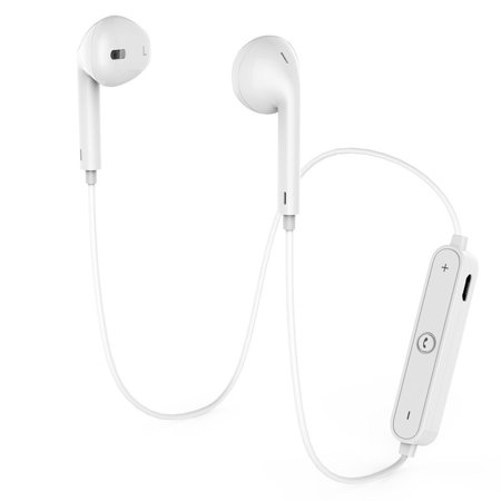 Wireless Headphones Bluetooth 4.1 Earbuds with Mic Sport Stereo Headset, Sweatproof Earphones WHITE