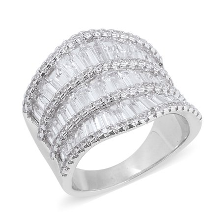 Simulated White Diamond Channel Silvertone Ring Cttw 5.2