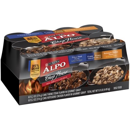 Purina Alpo Chop House Rotisserie Chicken   T Bone Steak Flavor In Gravy Canned Dog Food  13 2 Oz  Case Of 12