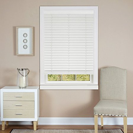 Plantation Collection Set of 2 Cordless Madera Falsa 2-Inch Faux Wood Blinds - White - 31