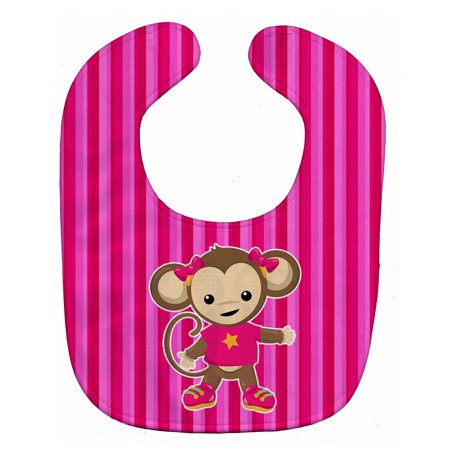 Monkey On Pink Stripes Baby Bib Bb7020bib