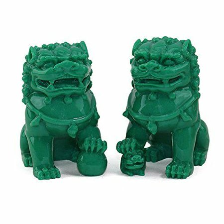 """Feng Shui Pair of 3"""" Green Fu Foo Dogs Guardian Lion Statue Paperweights Gift EHD"""
