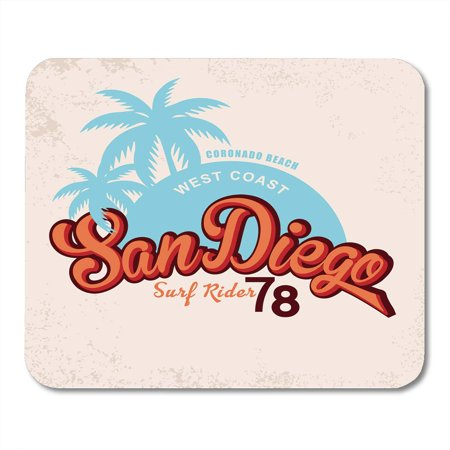 LADDKE California San Diego Vintage Graphic Effects Travel Sign Fifties Retro Mousepad Mouse Pad Mouse Mat 9x10 inch