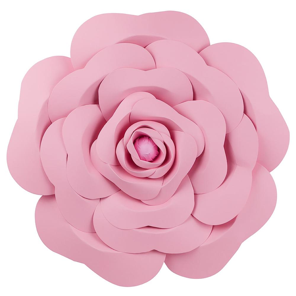 Quasimoon Giant 16 Pre Made Pink Garden Rose Paper Flower Wedding