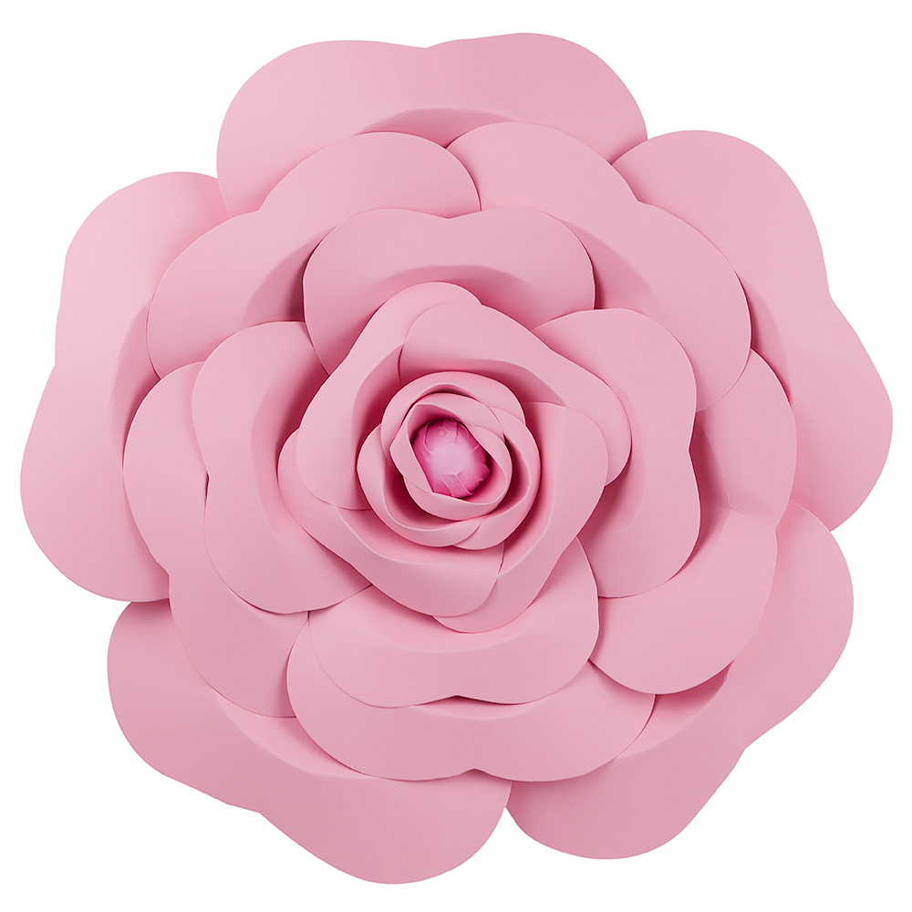 "Quasimoon Giant 16"" Pre-Made Pink Garden Rose Paper Flower Wedding Backdrop Wall Decor, 3D DIY Premium by PaperLanternStore"
