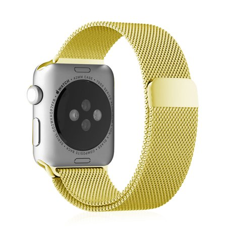 Fintie Apple Watch Band 42mm, [Unique Magnet Lock] Stainless Steel Bracelet Smart Watch Strap, Gold - Gold Stainless Steel Strap