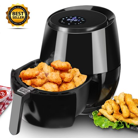 5.5QT Elctric Air Fryer w/LCD Touch Display, Temp Control, Timer, Oil Free, Detachable Basket, Cooking in Kitchen