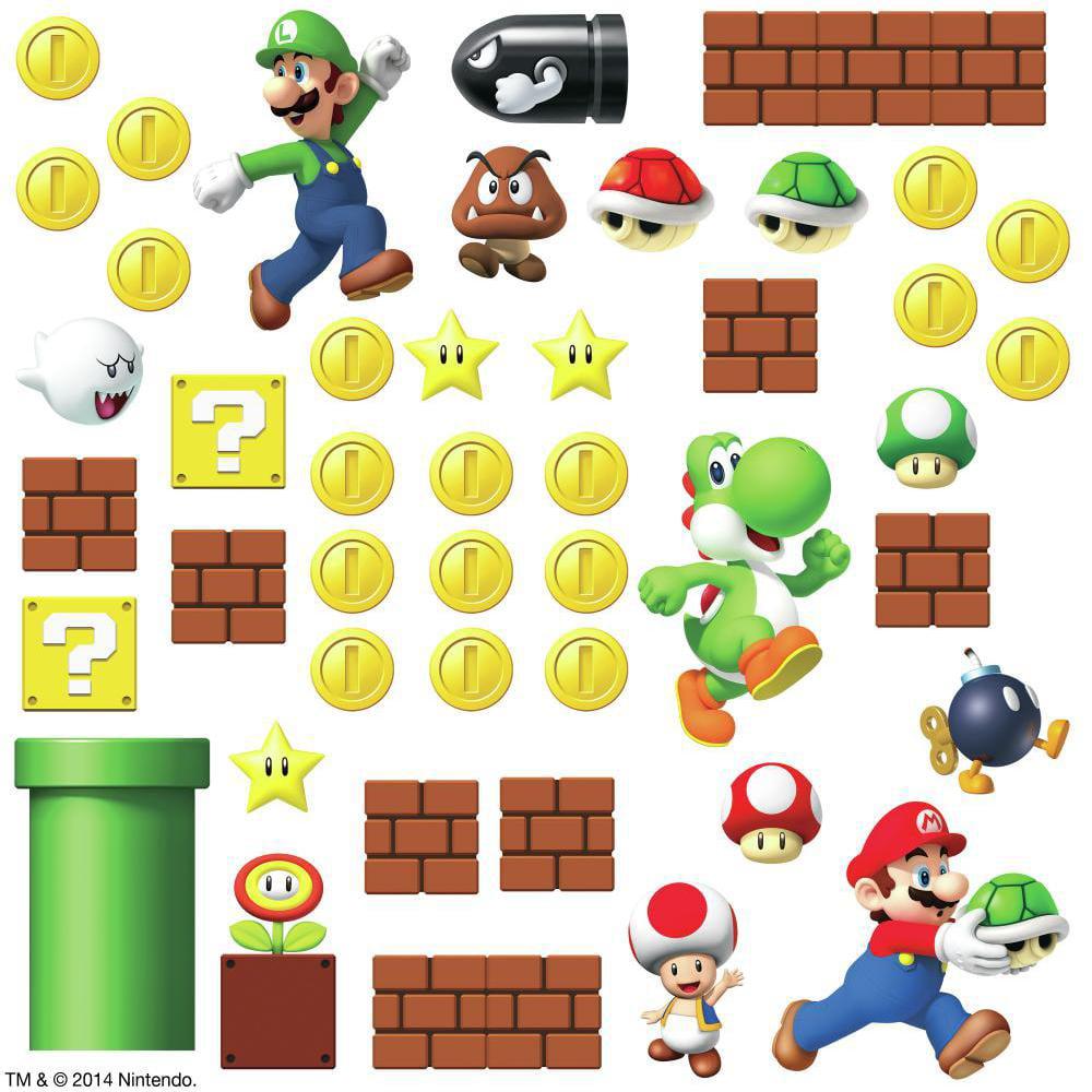 Super Mario Bricks Coins Wall Decals 45 New Stickers Luigi