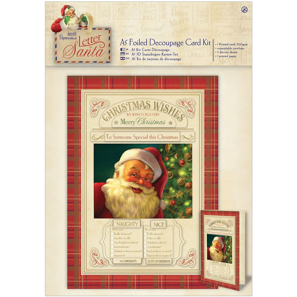 Papermania Letter To Santa A5 Decoupage Card Kit-Foiled Naughty & Nice