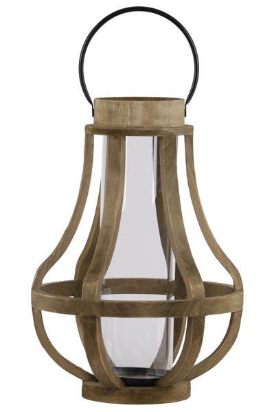 Wood Bellied Metal Handle Lantern With Hurricane Candle Holder Large Brown Walmart Canada