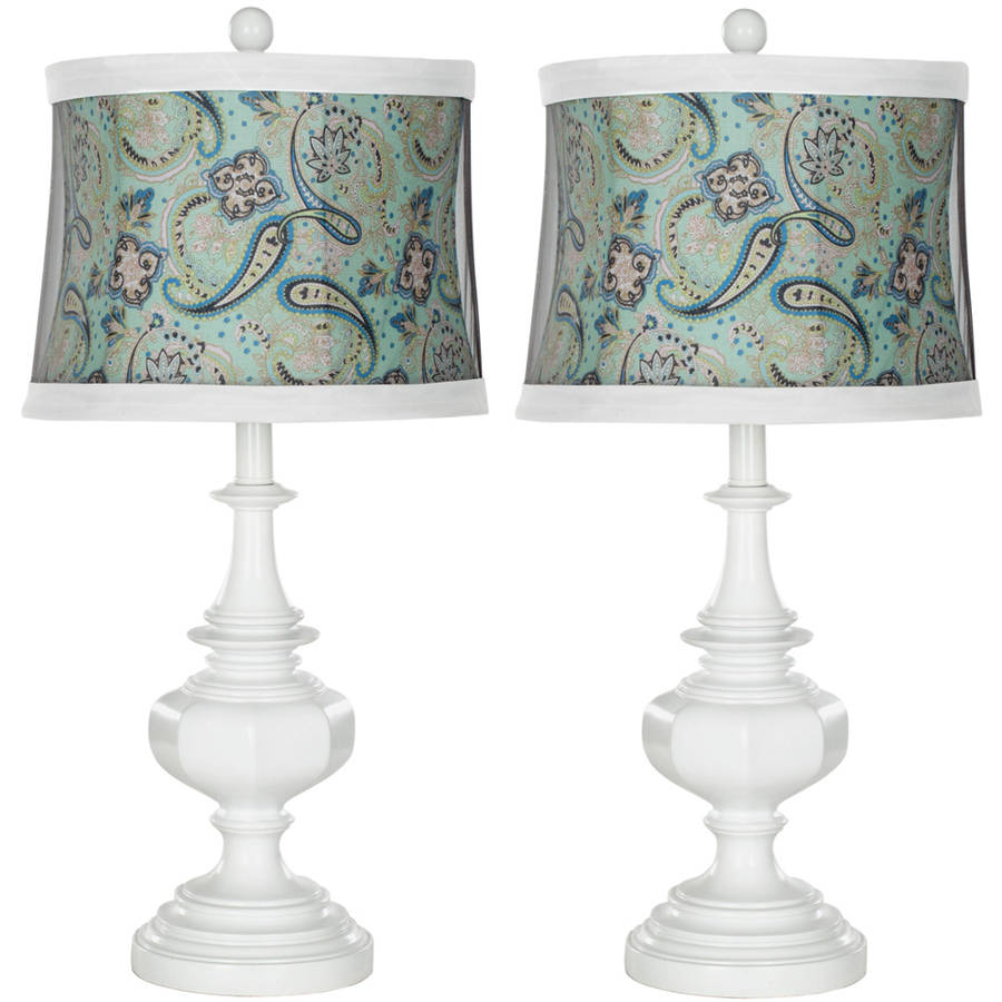 Safavieh Ella Urn Lamp with CFL Bulb, White with Blue Paisley Shade, Set of 2