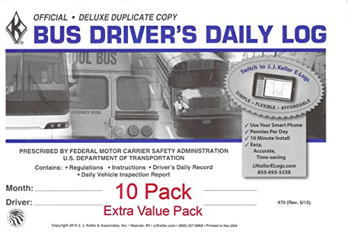 J.J. Keller 470 (9L) Bus Driver's Daily Log Book, 2-Ply, w Carbon, w Daily Recap and Detailed DVIR Extra Value... by