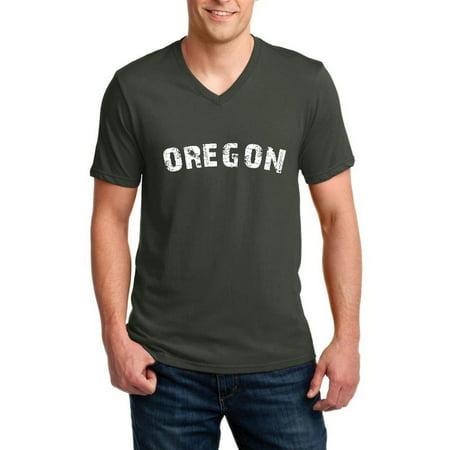 Oregon Portland State Flag Men V-Neck Shirts Ringspun (Portland Men)