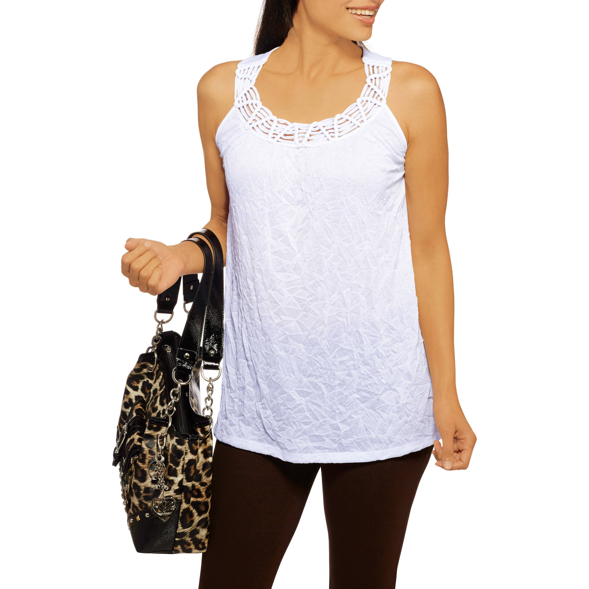 White Stag Women's Crew Neck Macrame Top