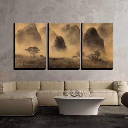 Chinese Wall Decor (wall26-3 Piece Canvas Wall Art - Yellow Fog and Chinese Mountain - Modern Home Decor Stretched and Framed Ready to Hang - 16
