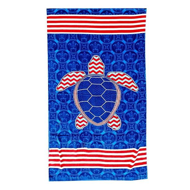101 Beach Summer Trendy Printed Large Beach Pool Towel Red White Blue Turtle Walmart Com Walmart Com