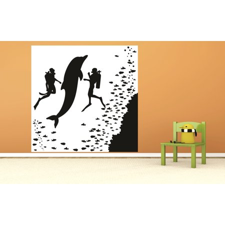 Custom Wall Decal : Dolphin And Divers Swimming Fish Underwater Silhouette -