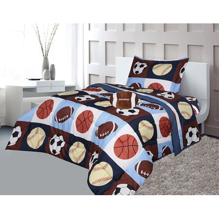 Golden Linens Twin Size 6 Pieces Printed Navy Blue, Sky Blue, Brown, Orange Kids Sports Basketball Football Baseball Comforter/ Coverlet / Bed in Bag Set with Decorative Cushion Toy Pillow # 02- 6