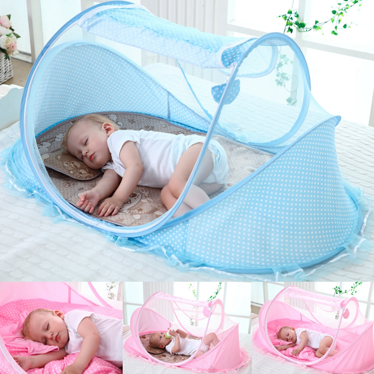 On Clearance Baby Infant Portable Folding Travel Bed, Crib Canopy Mosquito Net Tent, Portable Baby Cots Crib Sleeper Bed with One Pillow