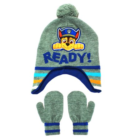 521cb8f5909 Paw Patrol Outerwear - Nickelodeon Paw Patrol Chase Peruvian Winter Hat and Mittens  Toddler 2T-4T Grey - Walmart.com