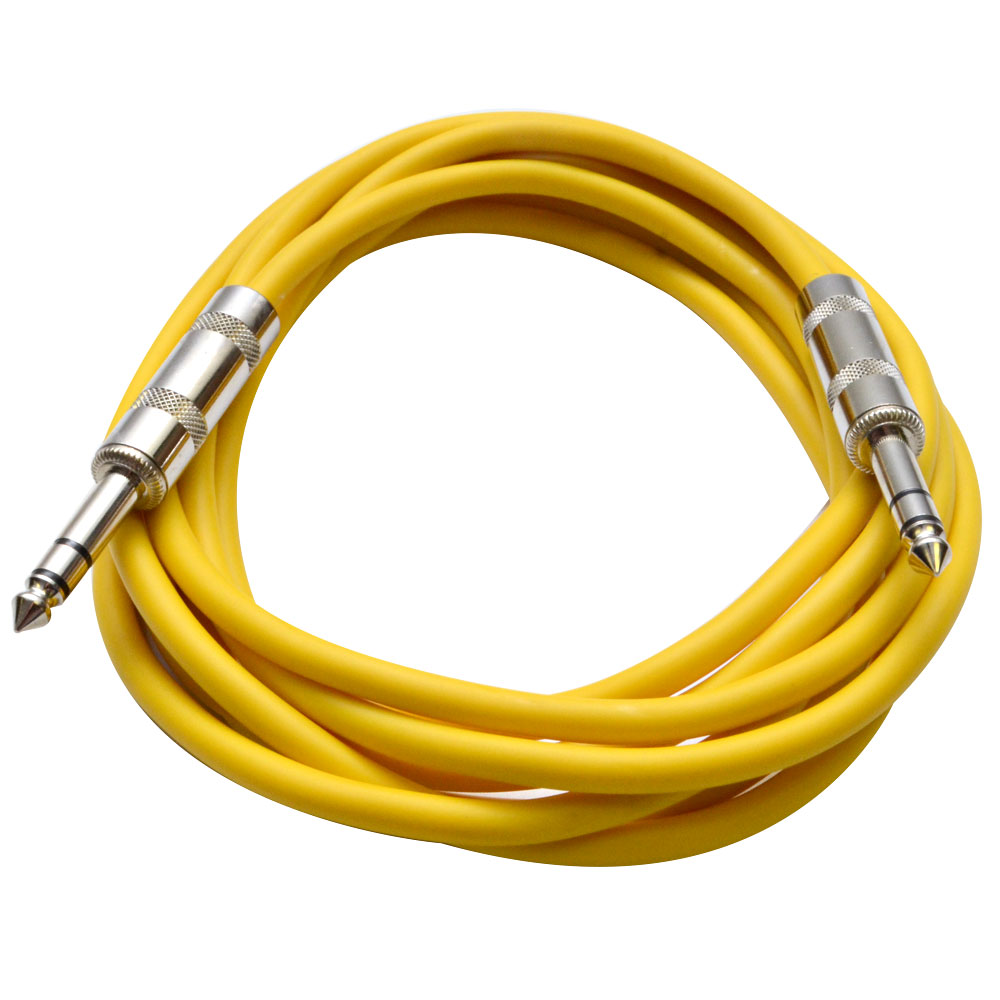 "Seismic Audio  - Yellow 1/4"" TRS 10' Patch Cable Effects Yellow - SATRX-10Yellow"