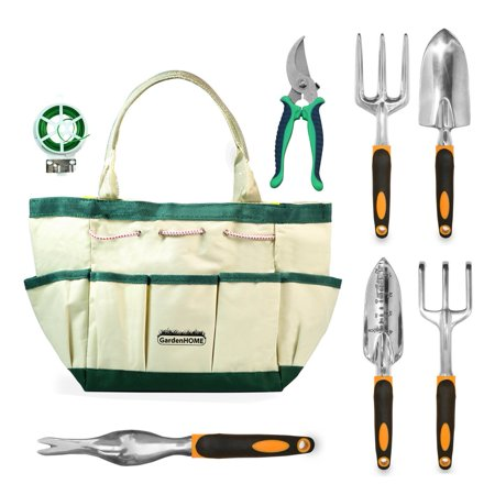 GardenHOME 9-Piece Garden Tools with Canvas Storage Tool Set Tote and Gardening (5 Deluxe Garden Tools)
