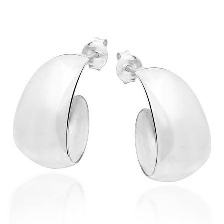Trendy Crescent Moon Half Hoop .925 Sterling Silver Post Earrings