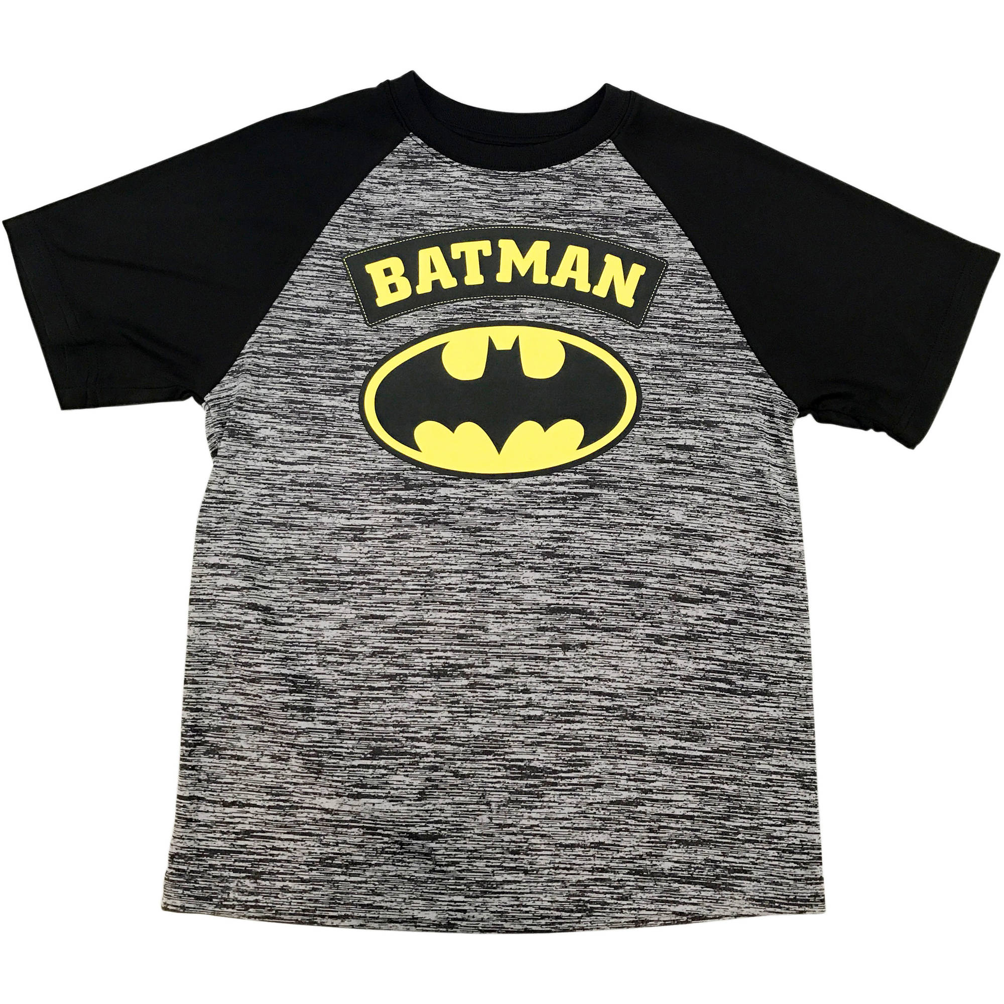 DC Comics Batman Boys Space Dye Raglan Logo Graphic Tee
