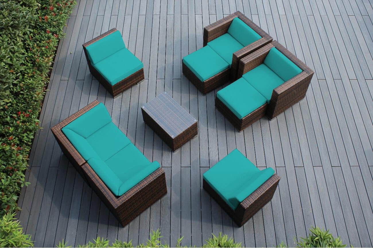 Ohana 9 Piece Outdoor Wicker Patio Furniture Sectional Conversation Set Mixed Brown Wicker by Ohana Depot