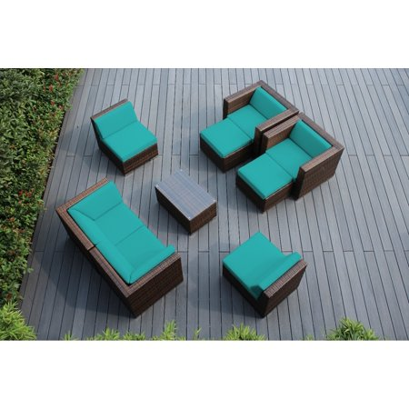 Ohana 9 Piece Outdoor Wicker Patio Furniture Sectional Conversation Set - Mixed Brown Wicker ()