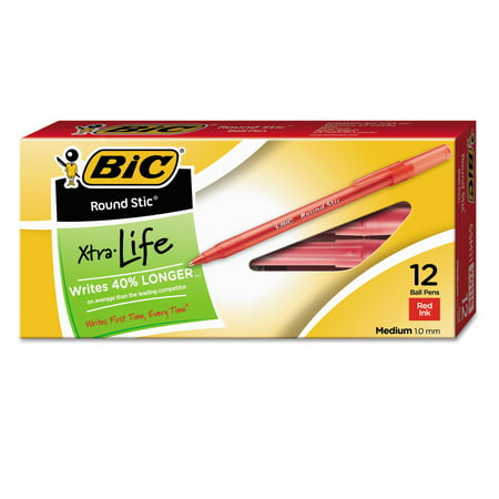 Victorinox Red Pen ((24 Pack) BIC Round Stic Xtra Life Ball Pen, Medium Point (1.0mm), Red, 12 Count)