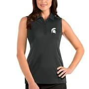 Michigan State Spartans Antigua Women's Tribute Sleeveless Polo - Charcoal