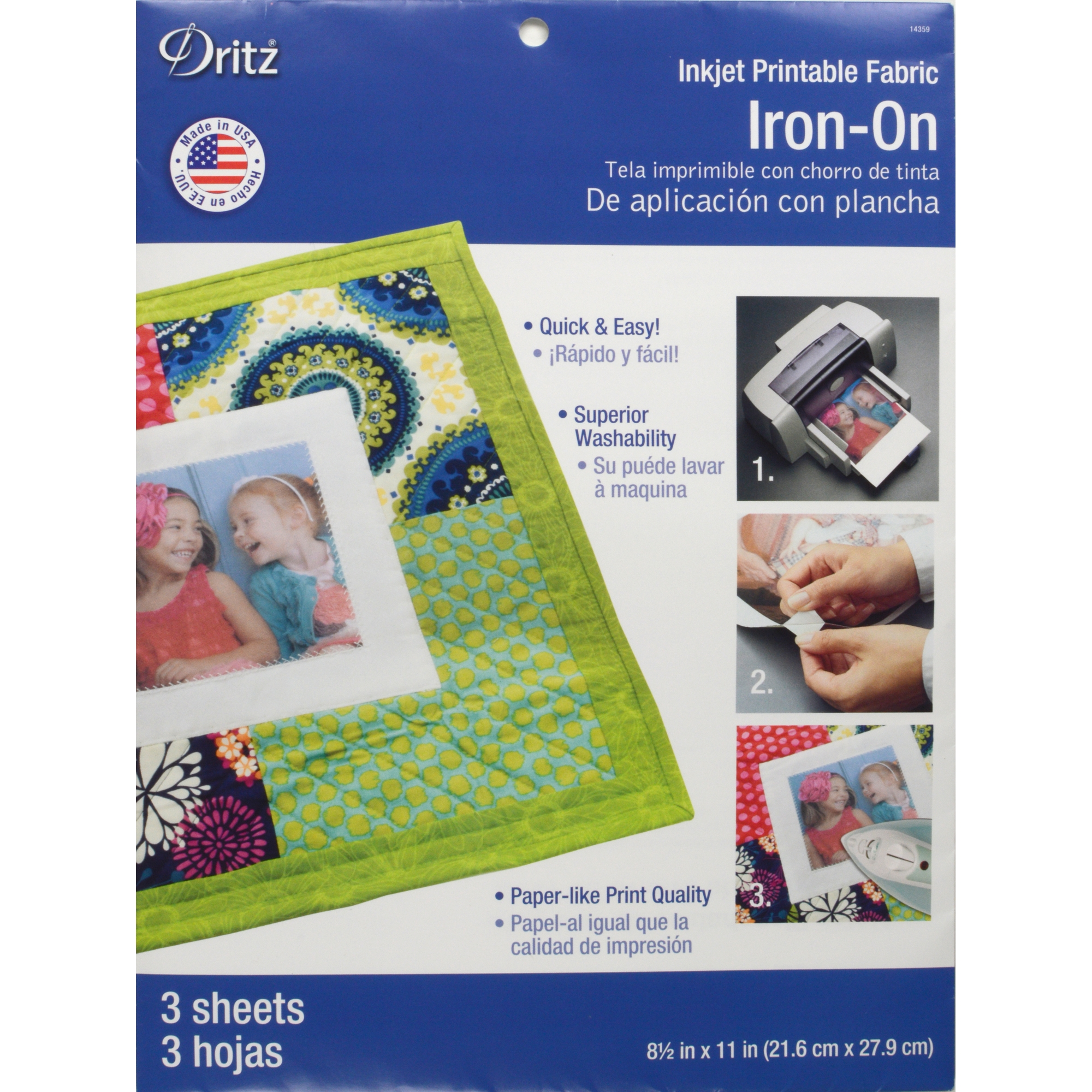 graphic about Ink Jet Printable Fabric named Dritz Inkjet Printable Cloth Iron-Upon Sheets, 3 Depend