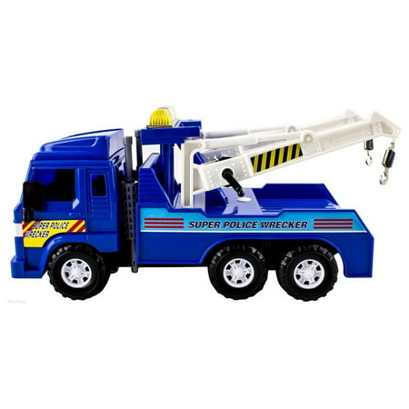 Big-Daddy Medium Duty Friction Powered Super Police Wrecker Tow Truck Blue Truck Holiday Toy truck